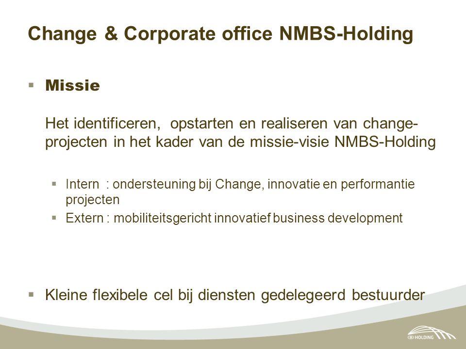 Change & Corporate office NMBS-Holding  Missie Het identificeren, opstarten en realiseren van change- projecten in het kader van de missie-visie NMBS