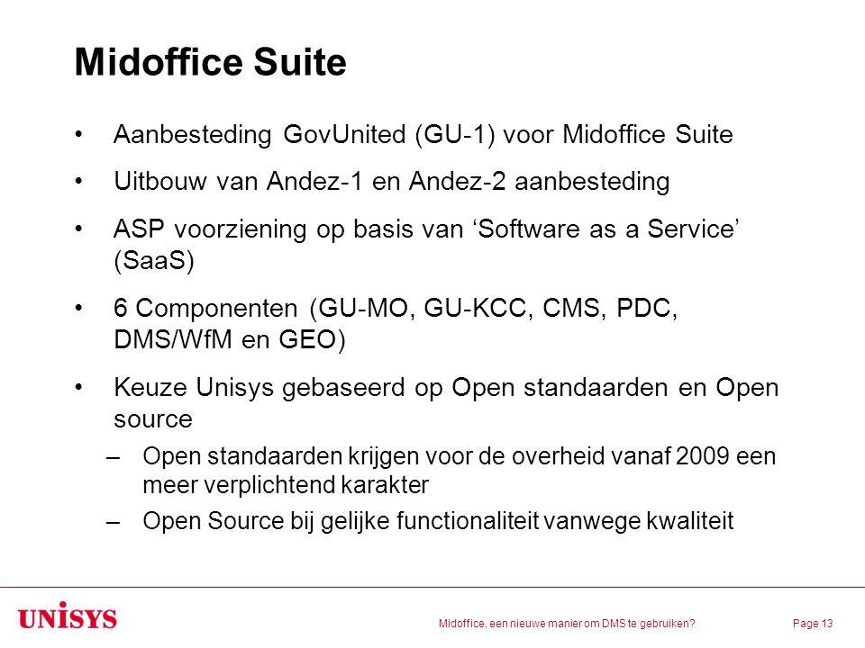 Midoffice, een nieuwe manier om DMS te gebruiken?Page 13 Midoffice Suite Aanbesteding GovUnited (GU-1) voor Midoffice Suite Uitbouw van Andez-1 en And