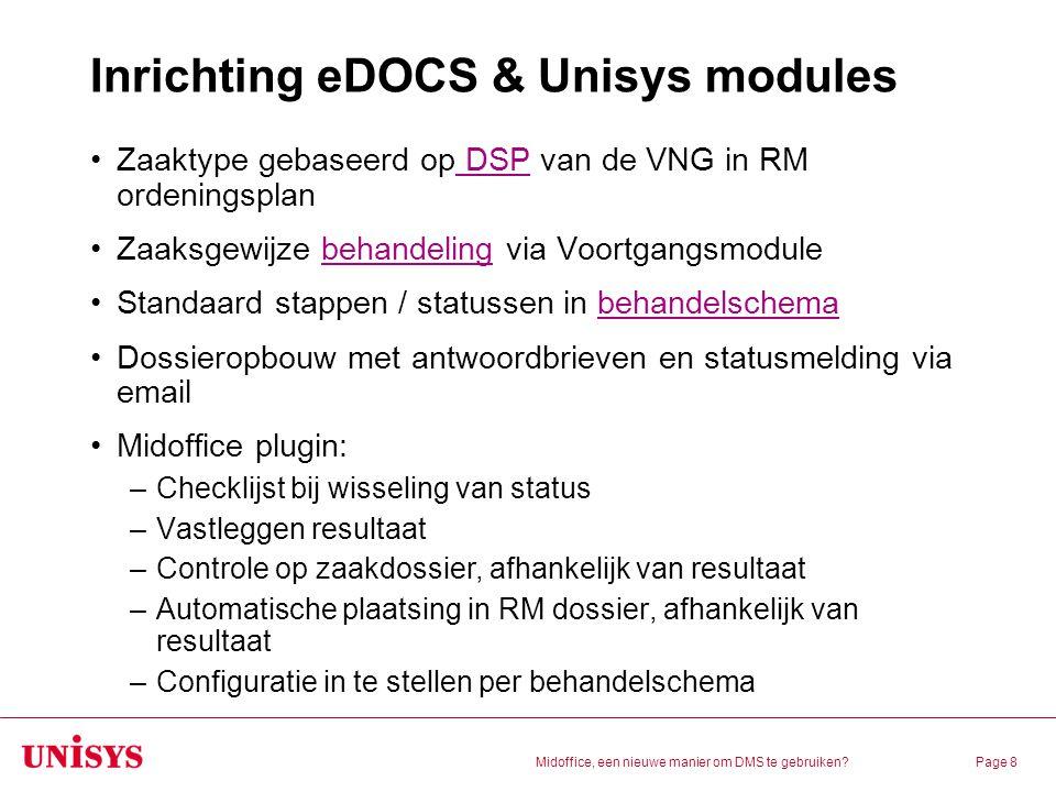 Midoffice, een nieuwe manier om DMS te gebruiken?Page 8 Inrichting eDOCS & Unisys modules Zaaktype gebaseerd op DSP van de VNG in RM ordeningsplan DSP