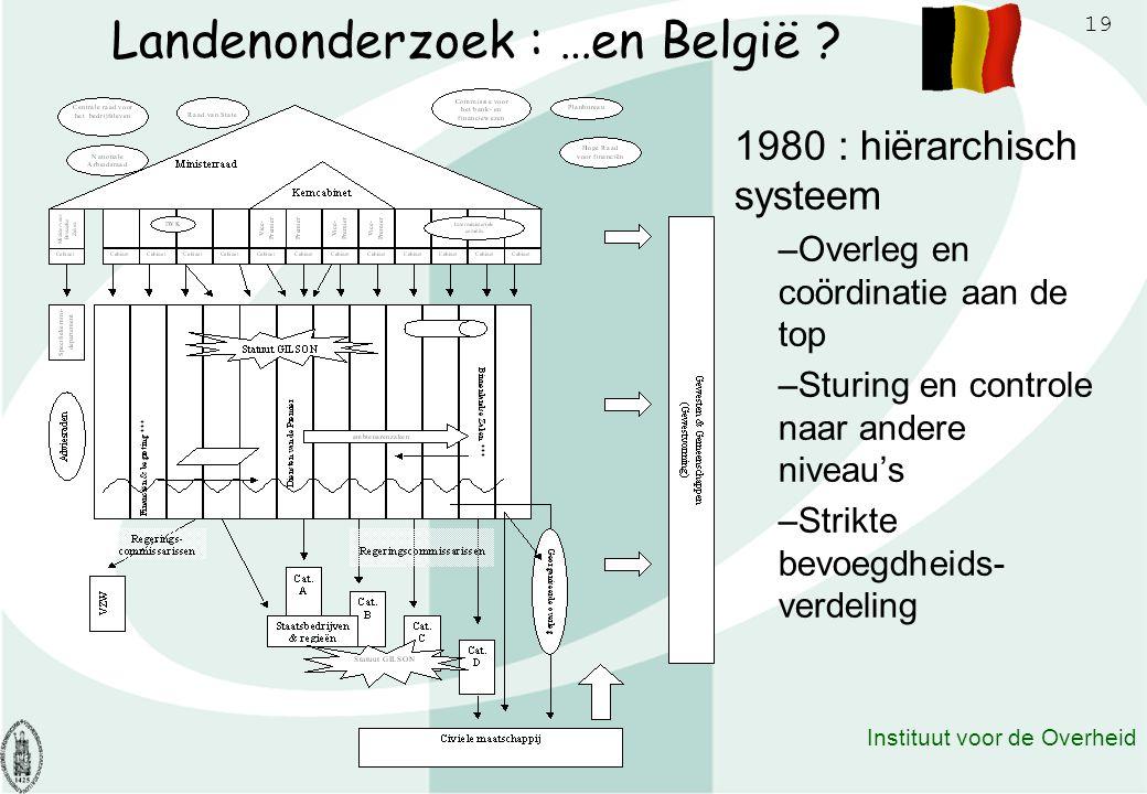 19 Instituut voor de Overheid Landenonderzoek : …en België ? 1980 : hiërarchisch systeem –Overleg en coördinatie aan de top –Sturing en controle naar