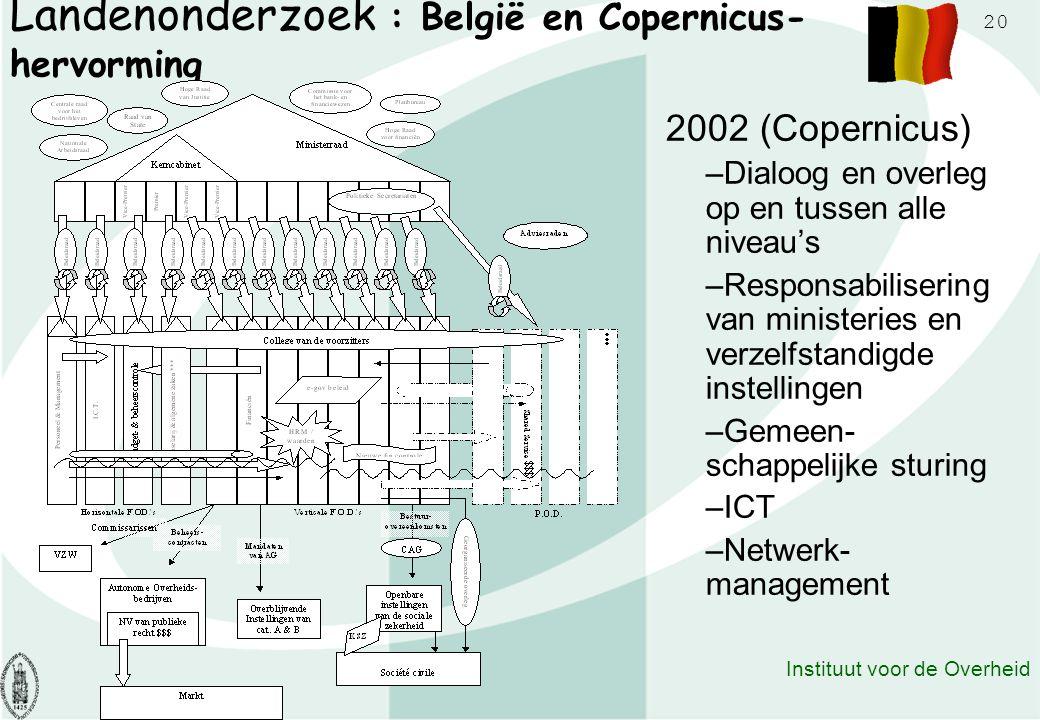 20 Instituut voor de Overheid Landenonderzoek : België en Copernicus- hervorming 2002 (Copernicus) –Dialoog en overleg op en tussen alle niveau's –Res
