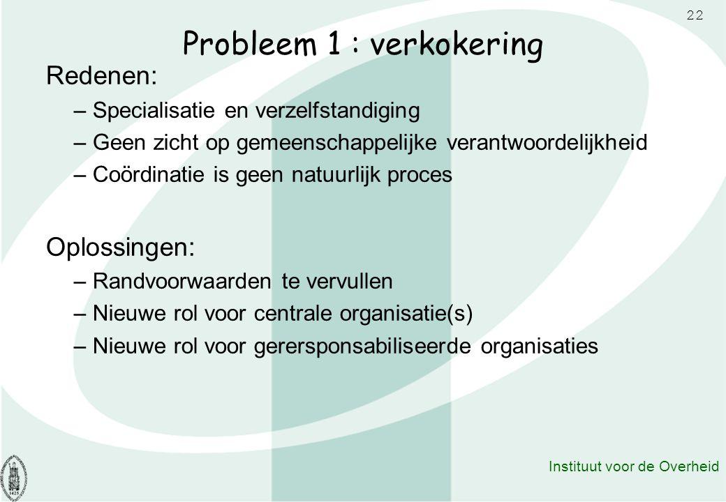 22 Instituut voor de Overheid Probleem 1 : verkokering Redenen: – Specialisatie en verzelfstandiging – Geen zicht op gemeenschappelijke verantwoordeli