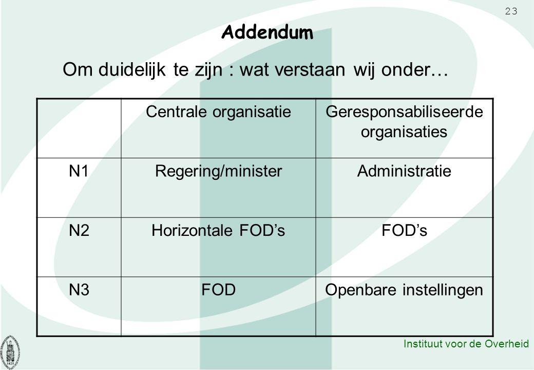 23 Instituut voor de Overheid Addendum Om duidelijk te zijn : wat verstaan wij onder… Centrale organisatieGeresponsabiliseerde organisaties N1Regering