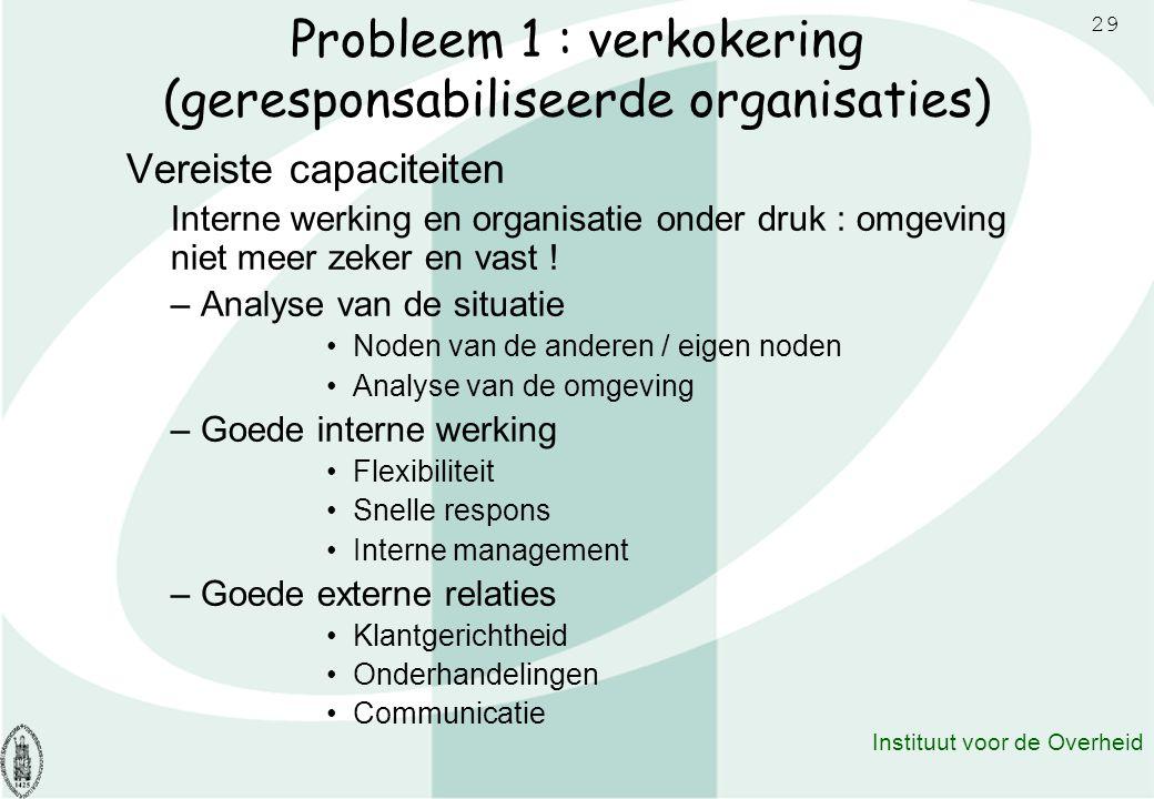 29 Instituut voor de Overheid Probleem 1 : verkokering (geresponsabiliseerde organisaties) Vereiste capaciteiten Interne werking en organisatie onder