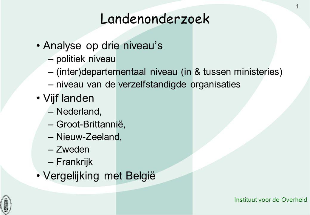 4 Instituut voor de Overheid Landenonderzoek Analyse op drie niveau's – politiek niveau – (inter)departementaal niveau (in & tussen ministeries) – niv