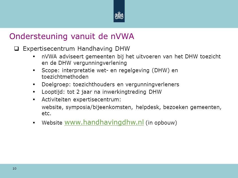 10  Expertisecentrum Handhaving DHW  nVWA adviseert gemeenten bij het uitvoeren van het DHW toezicht en de DHW vergunningverlening  Scope: interpretatie wet- en regelgeving (DHW) en toezichtmethoden  Doelgroep: toezichthouders en vergunningverleners  Looptijd: tot 2 jaar na inwerkingtreding DHW  Activiteiten expertisecentrum: website, symposia/bijeenkomsten, helpdesk, bezoeken gemeenten, etc.