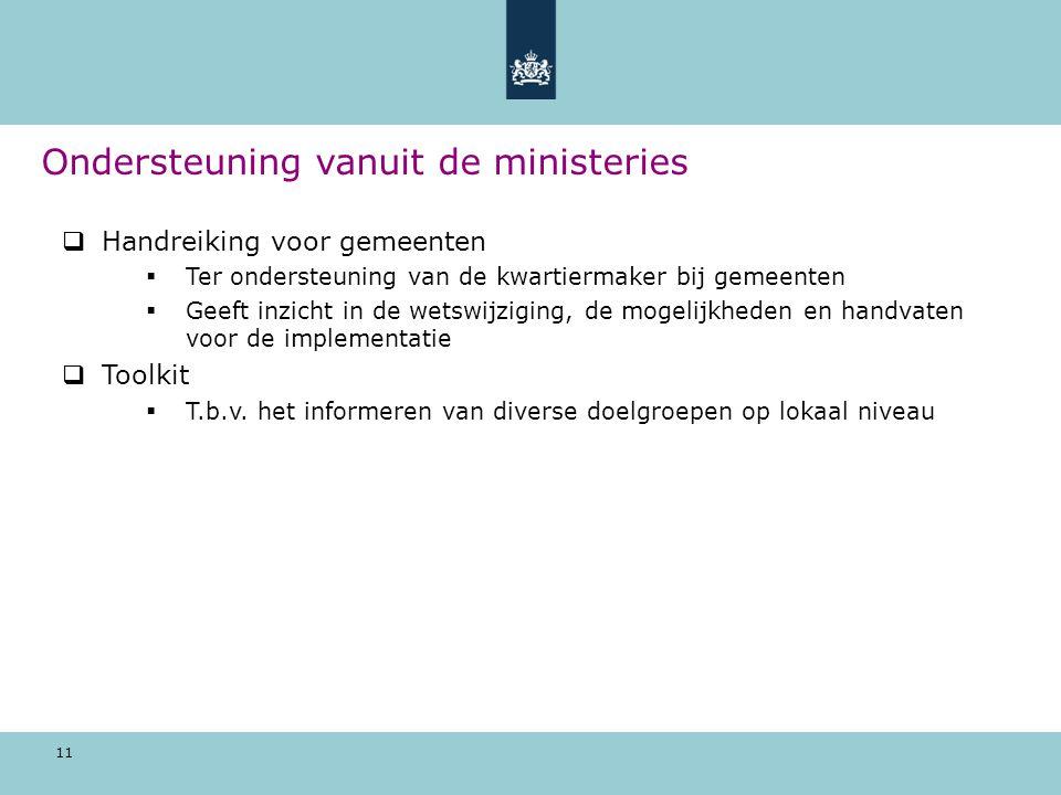 11  Handreiking voor gemeenten  Ter ondersteuning van de kwartiermaker bij gemeenten  Geeft inzicht in de wetswijziging, de mogelijkheden en handvaten voor de implementatie  Toolkit  T.b.v.