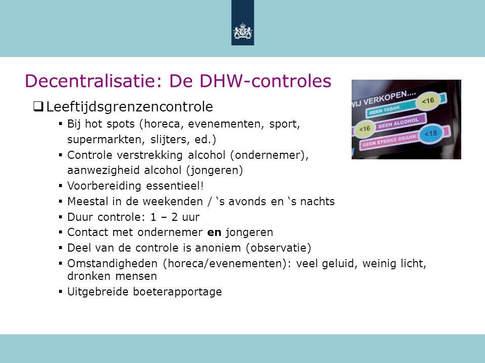  Leeftijdsgrenzencontrole  Bij hot spots (horeca, evenementen, sport, supermarkten, slijters, ed.)  Controle verstrekking alcohol (ondernemer), aan