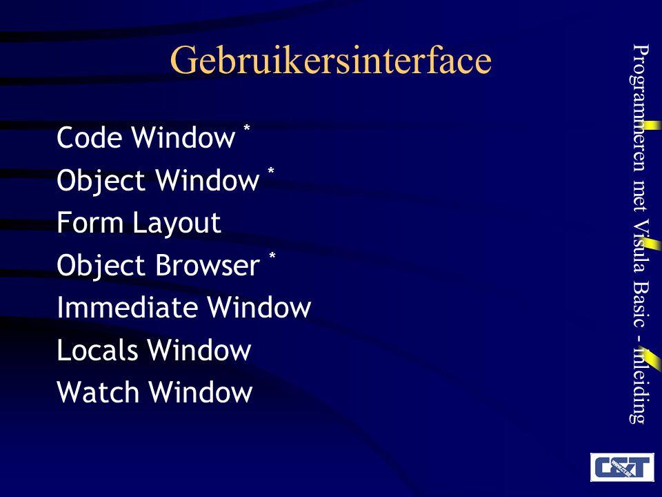 Programmeren met Visula Basic - inleiding Gebruikersinterface Code Window * Object Window * Form Layout Object Browser * Immediate Window Locals Windo
