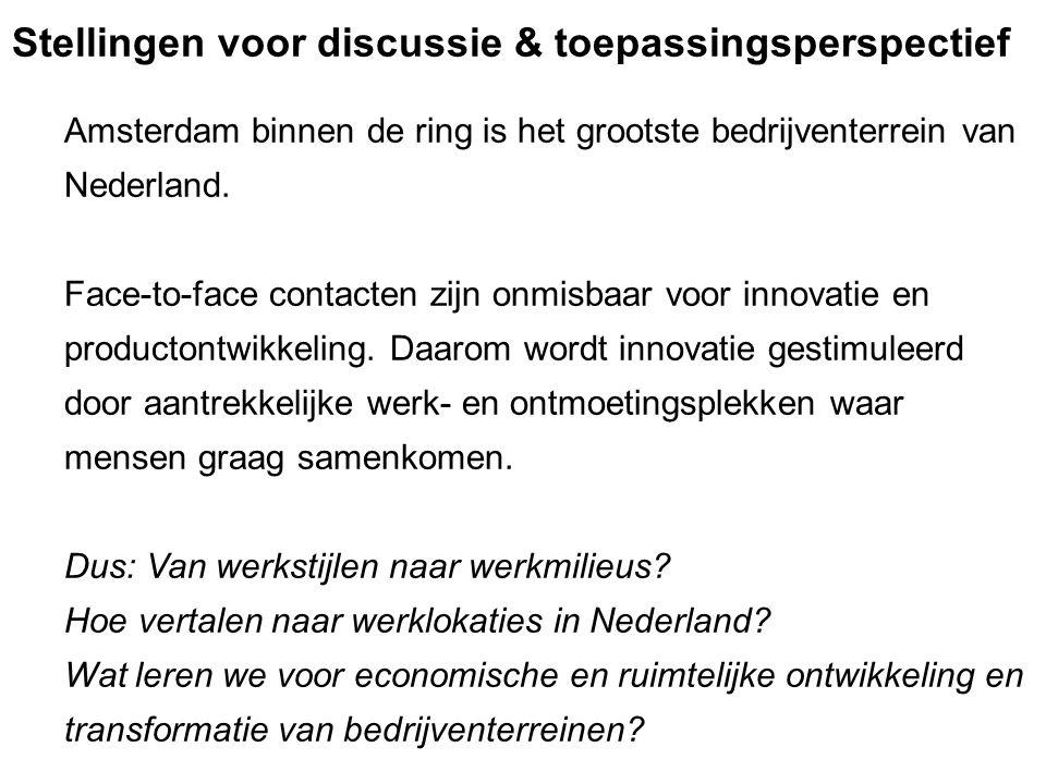 Amsterdam binnen de ring is het grootste bedrijventerrein van Nederland. Face-to-face contacten zijn onmisbaar voor innovatie en productontwikkeling.