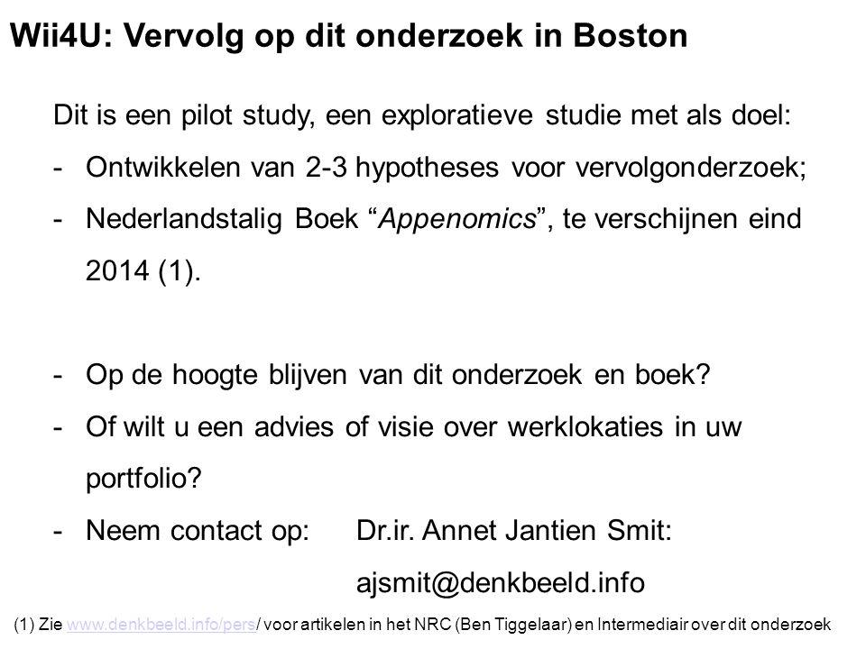 Dit is een pilot study, een exploratieve studie met als doel: -Ontwikkelen van 2-3 hypotheses voor vervolgonderzoek; -Nederlandstalig Boek Appenomics , te verschijnen eind 2014 (1).