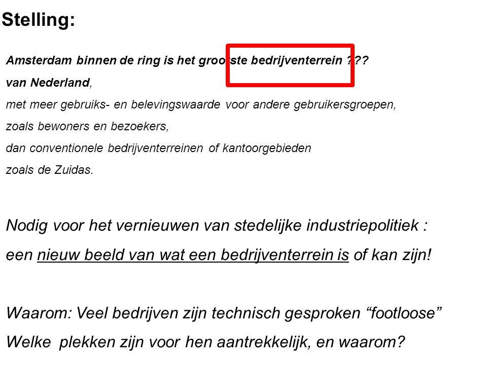 Stelling: Amsterdam binnen de ring is het grootste bedrijventerrein ??? van Nederland, met meer gebruiks- en belevingswaarde voor andere gebruikersgro