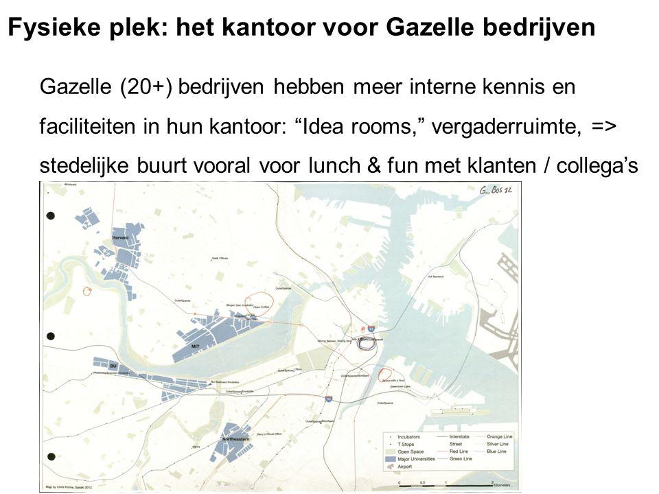 Gazelle (20+) bedrijven hebben meer interne kennis en faciliteiten in hun kantoor: Idea rooms, vergaderruimte, => stedelijke buurt vooral voor lunch & fun met klanten / collega's Map of G-Bos12 Fysieke plek: het kantoor voor Gazelle bedrijven