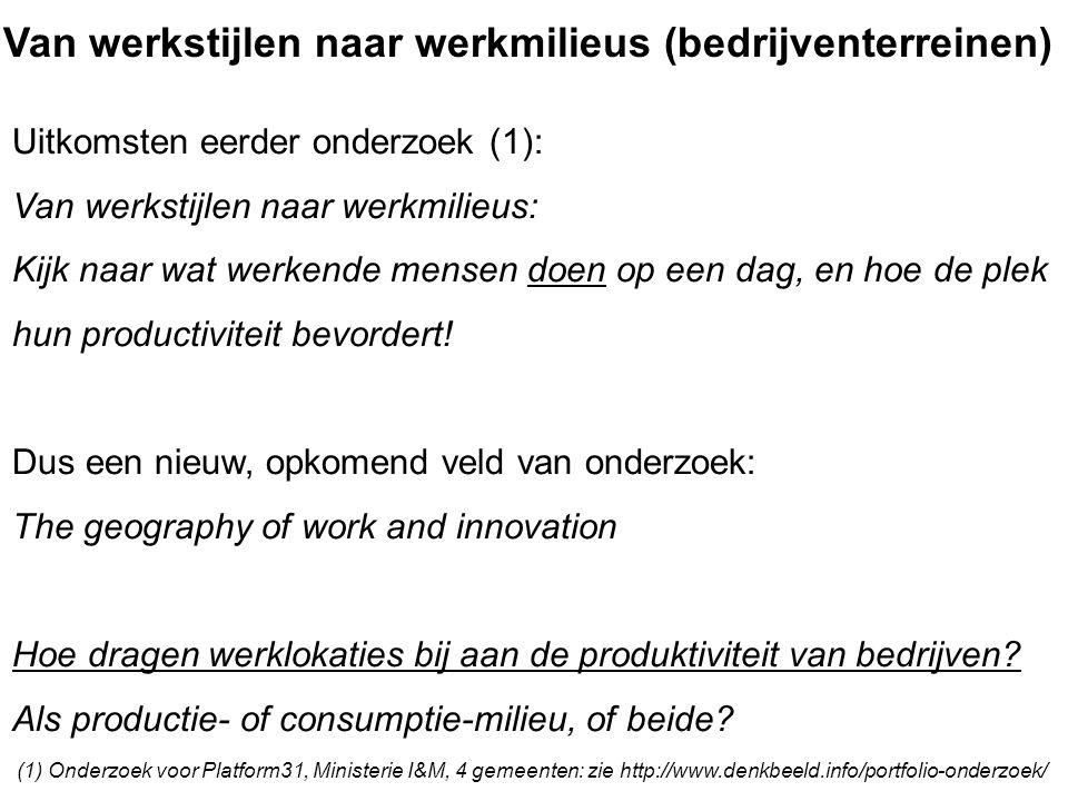 Van werkstijlen naar werkmilieus (bedrijventerreinen) Uitkomsten eerder onderzoek (1): Van werkstijlen naar werkmilieus: Kijk naar wat werkende mensen doen op een dag, en hoe de plek hun productiviteit bevordert.