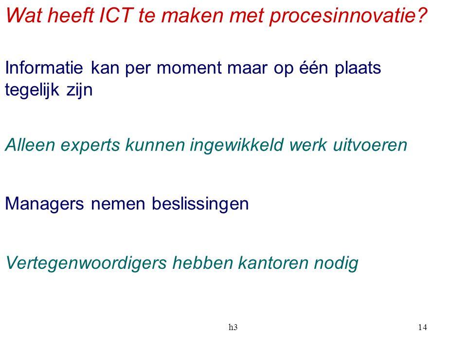 h314 Wat heeft ICT te maken met procesinnovatie? Informatie kan per moment maar op één plaats tegelijk zijn Alleen experts kunnen ingewikkeld werk uit