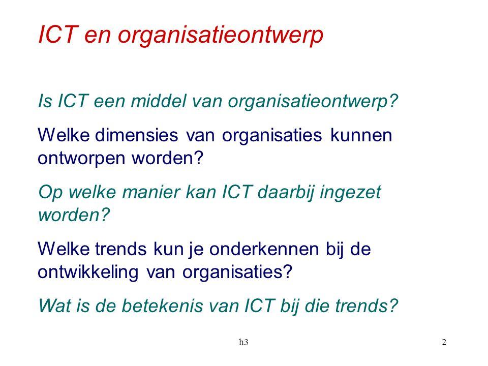 h32 ICT en organisatieontwerp Is ICT een middel van organisatieontwerp? Welke dimensies van organisaties kunnen ontworpen worden? Op welke manier kan