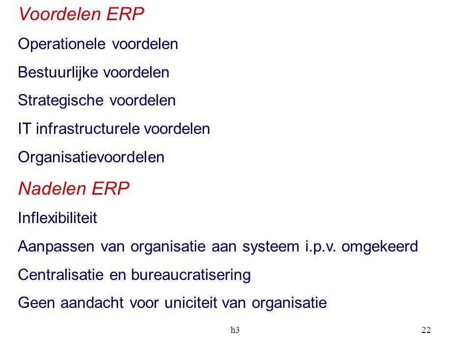 h322 Voordelen ERP Operationele voordelen Bestuurlijke voordelen Strategische voordelen IT infrastructurele voordelen Organisatievoordelen Nadelen ERP