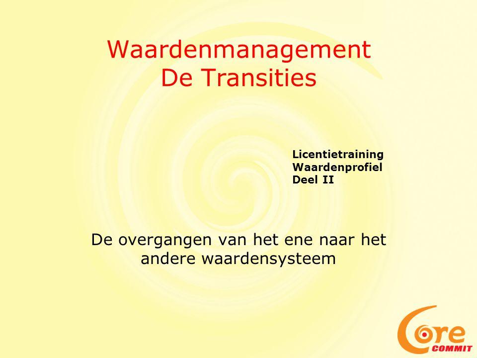 Waardenmanagement De Transities De overgangen van het ene naar het andere waardensysteem Licentietraining Waardenprofiel Deel II