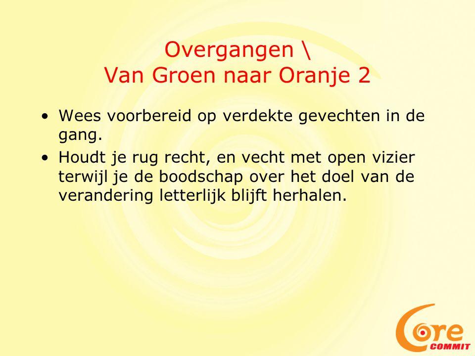 Overgangen \ Van Groen naar Oranje 2 Wees voorbereid op verdekte gevechten in de gang. Houdt je rug recht, en vecht met open vizier terwijl je de bood