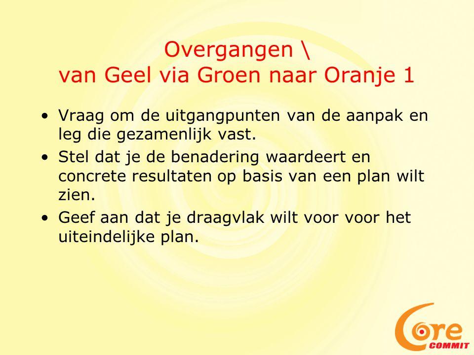 Overgangen \ van Geel via Groen naar Oranje 1 Vraag om de uitgangpunten van de aanpak en leg die gezamenlijk vast. Stel dat je de benadering waardeert