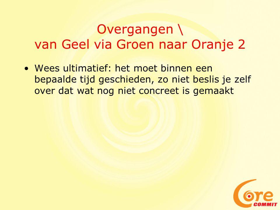 Overgangen \ van Geel via Groen naar Oranje 2 Wees ultimatief: het moet binnen een bepaalde tijd geschieden, zo niet beslis je zelf over dat wat nog n