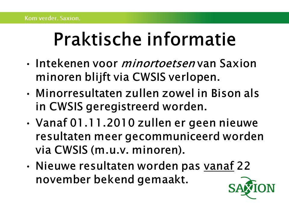 Kom verder. Saxion. Praktische informatie Intekenen voor minortoetsen van Saxion minoren blijft via CWSIS verlopen. Minorresultaten zullen zowel in Bi