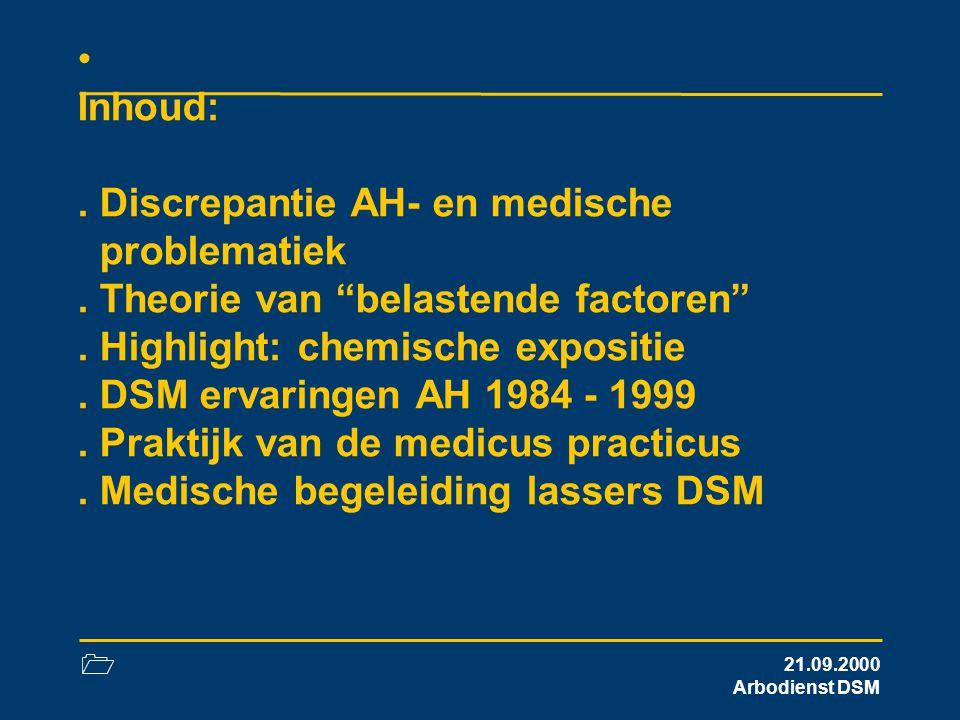 """1 21.09.2000 Arbodienst DSM Inhoud:. Discrepantie AH- en medische problematiek. Theorie van """"belastende factoren"""". Highlight: chemische expositie. DSM"""