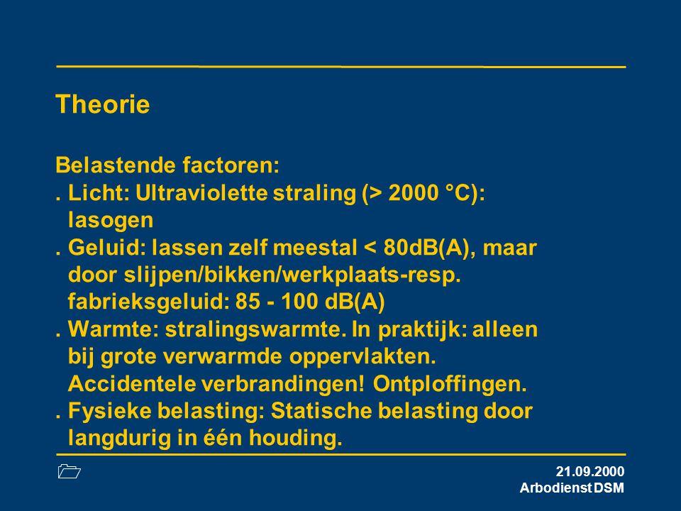 1 21.09.2000 Arbodienst DSM Theorie Belastende factoren:. Licht: Ultraviolette straling (> 2000 °C): lasogen. Geluid: lassen zelf meestal < 80dB(A), m