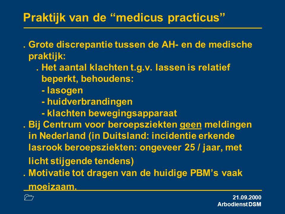 """1 21.09.2000 Arbodienst DSM Praktijk van de """"medicus practicus"""". Grote discrepantie tussen de AH- en de medische praktijk:. Het aantal klachten t.g.v."""