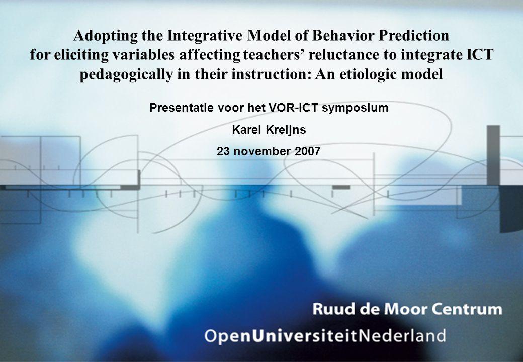 Technology Acceptance Model Vraag: Kan TAM functioneren als etiologisch model? Antwoord: Nee!