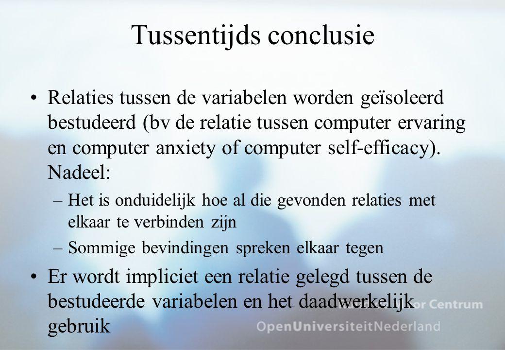 Tussentijds conclusie Relaties tussen de variabelen worden geïsoleerd bestudeerd (bv de relatie tussen computer ervaring en computer anxiety of computer self-efficacy).