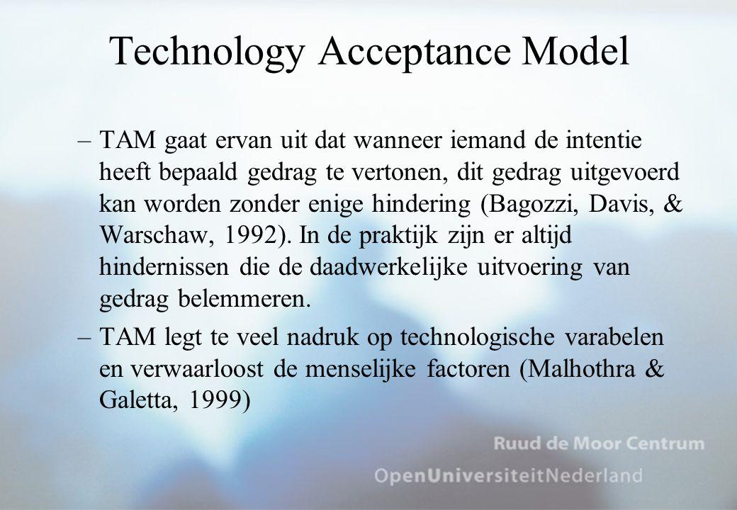 Technology Acceptance Model –TAM gaat ervan uit dat wanneer iemand de intentie heeft bepaald gedrag te vertonen, dit gedrag uitgevoerd kan worden zonder enige hindering (Bagozzi, Davis, & Warschaw, 1992).