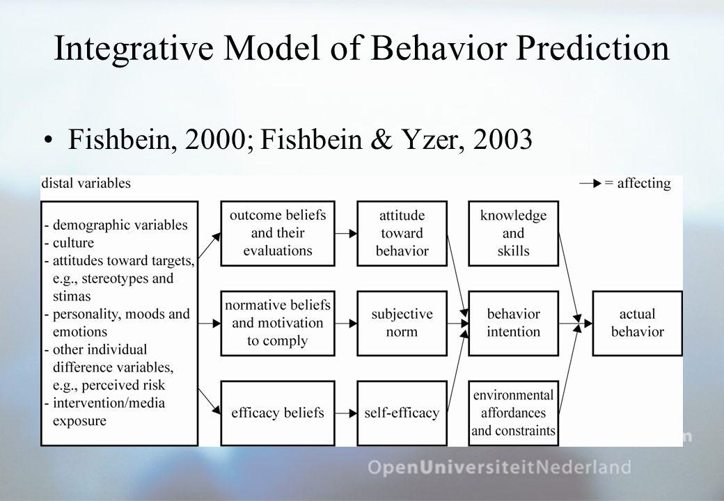 Integrative Model of Behavior Prediction Fishbein, 2000; Fishbein & Yzer, 2003