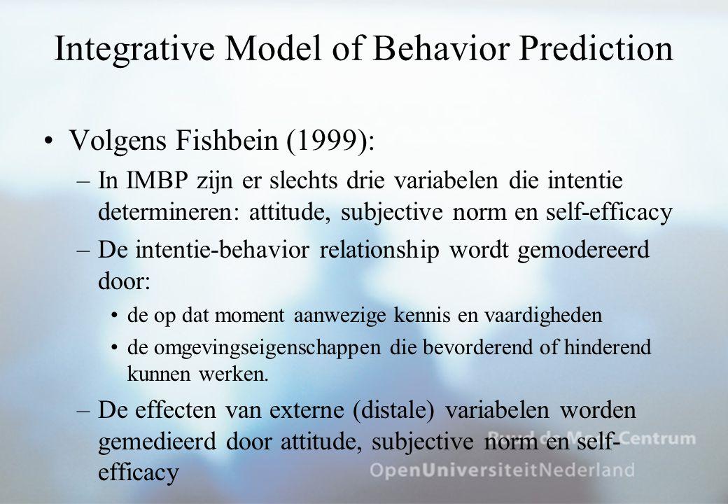 Integrative Model of Behavior Prediction Volgens Fishbein (1999): –In IMBP zijn er slechts drie variabelen die intentie determineren: attitude, subjective norm en self-efficacy –De intentie-behavior relationship wordt gemodereerd door: de op dat moment aanwezige kennis en vaardigheden de omgevingseigenschappen die bevorderend of hinderend kunnen werken.