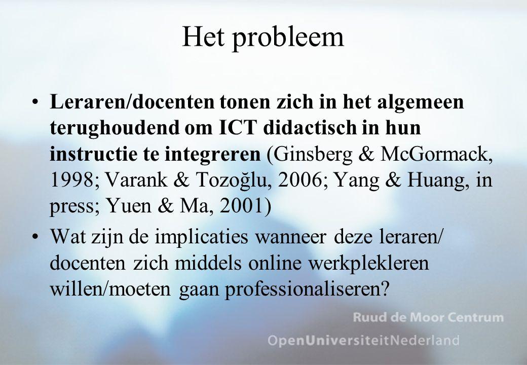Het probleem Leraren/docenten tonen zich in het algemeen terughoudend om ICT didactisch in hun instructie te integreren (Ginsberg & McGormack, 1998; Varank & Tozoğlu, 2006; Yang & Huang, in press; Yuen & Ma, 2001) Wat zijn de implicaties wanneer deze leraren/ docenten zich middels online werkplekleren willen/moeten gaan professionaliseren?