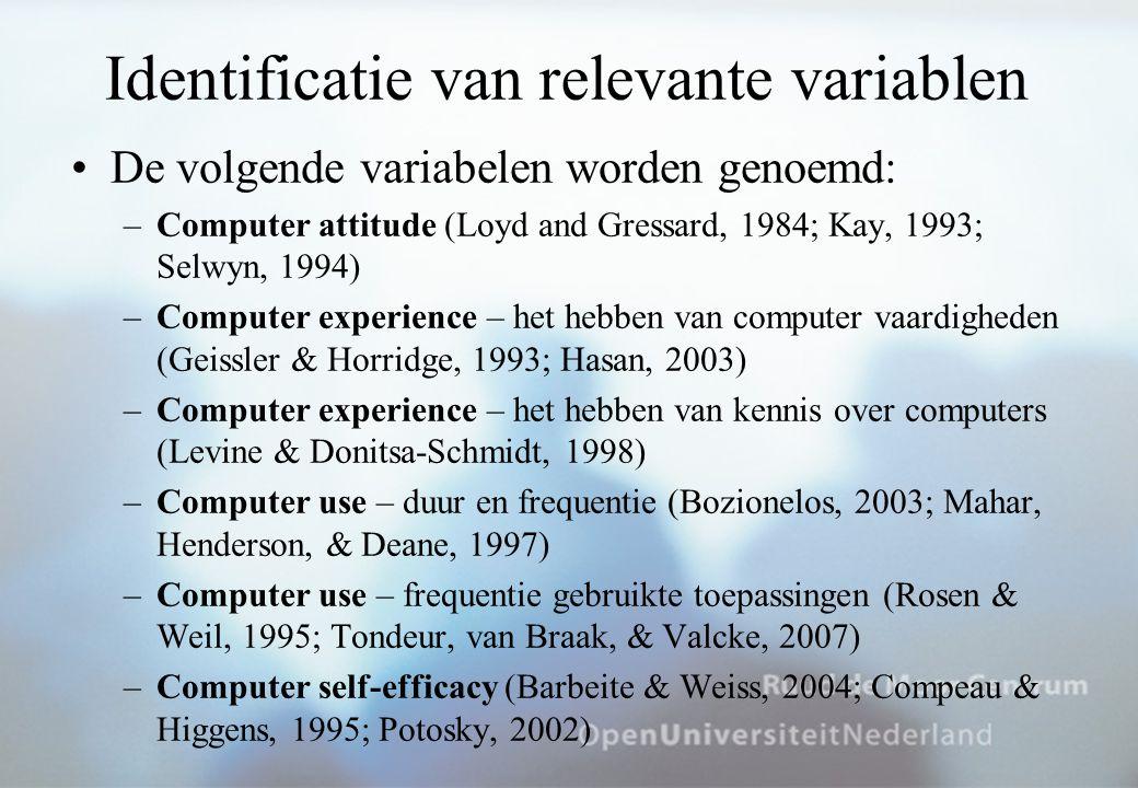 Identificatie van relevante variablen –Computer anxiety (Beckers, 2001, 2007; Smith & Caputi, 2007,Wilfong, 2006) –Computer frustration (Brehm, Kassin, Fein, 2002; Scheier, Fernandez, Klein, & Picard, 2002) –Computer knowledge (Geissler & Horridge, 1993; Levine & Donitsa-Schmidt, 1998) –Perceived usefulness of computers (Selwyn, 1997) –Computer training (Webster & Martocchio, 1992) –Computer confidence ( –Computer understanding (Potosky & Bobko, 1998) –Computer liking (Loyd & Gressard, 1984) –Computer access (Smith, Caputi, & Rawstorne, 2000)