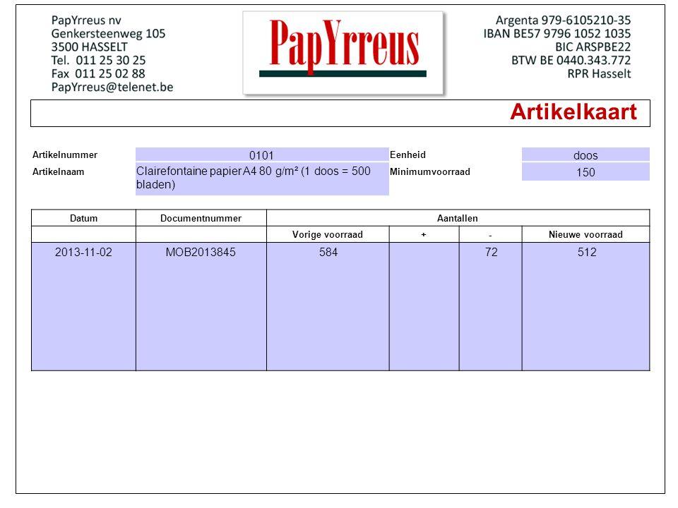 Artikelkaart Artikelnummer 0101 Eenheid doos Artikelnaam Clairefontaine papier A4 80 g/m² (1 doos = 500 bladen) Minimumvoorraad 150 DatumDocumentnummerAantallen Vorige voorraad+-Nieuwe voorraad 2013-11-02MOB2013845 584 72 512