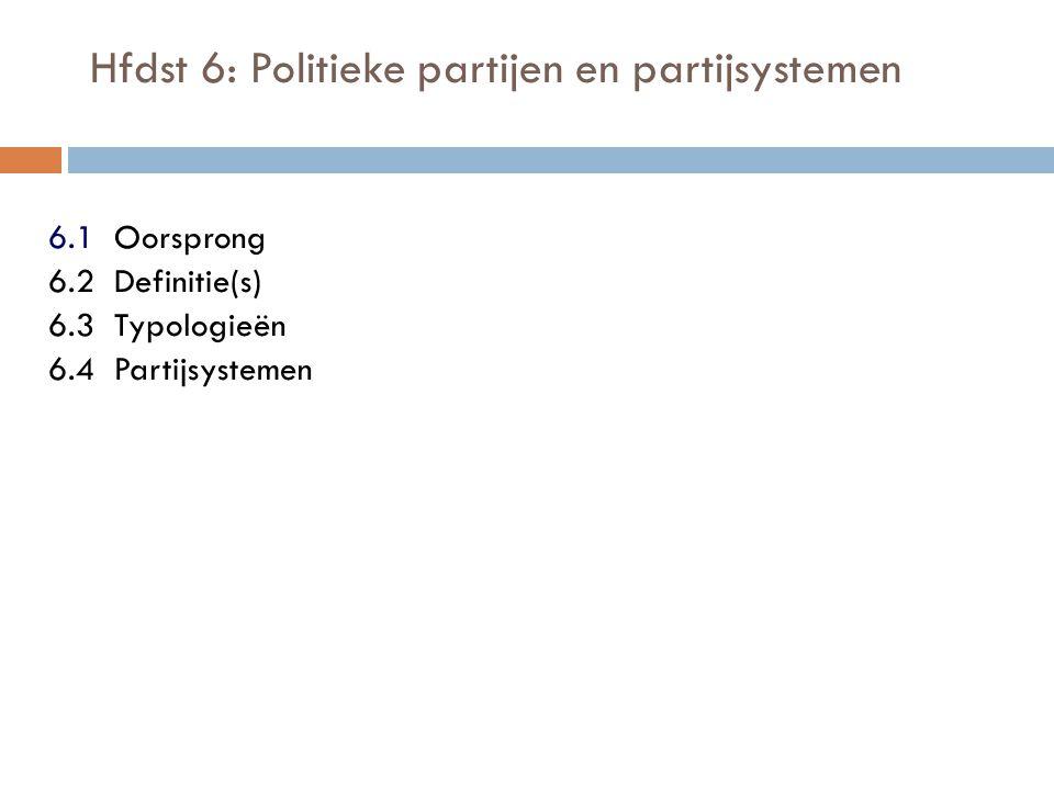 Hfdst 6: Politieke partijen en partijsystemen 6.1 Oorsprong 6.2 Definitie(s) 6.3 Typologieën 6.4 Partijsystemen