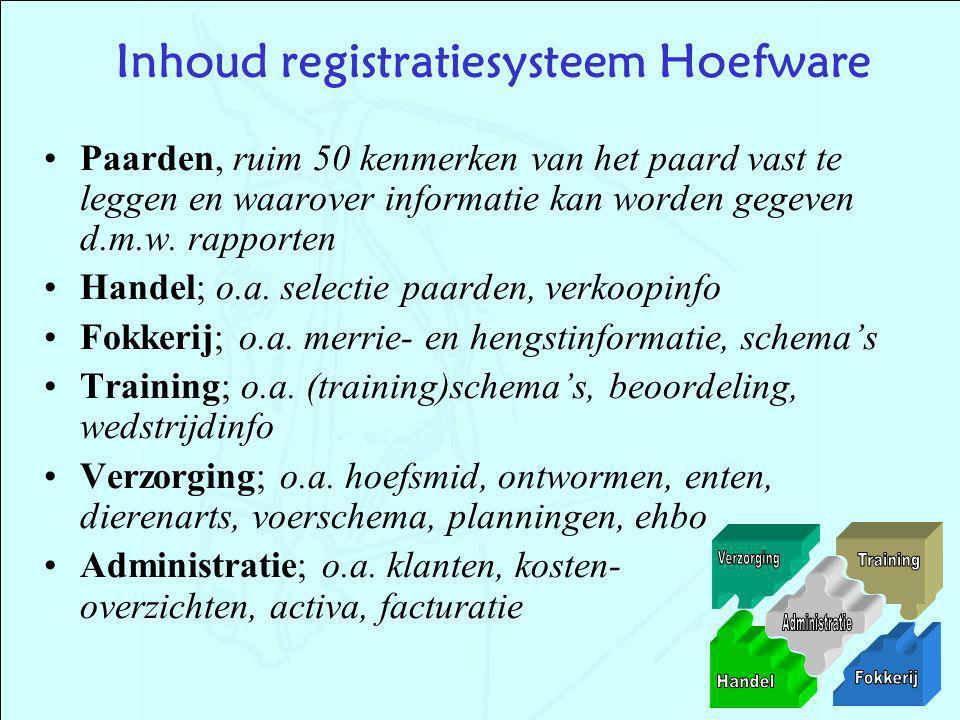 Inhoud registratiesysteem Hoefware Paarden, ruim 50 kenmerken van het paard vast te leggen en waarover informatie kan worden gegeven d.m.w. rapporten