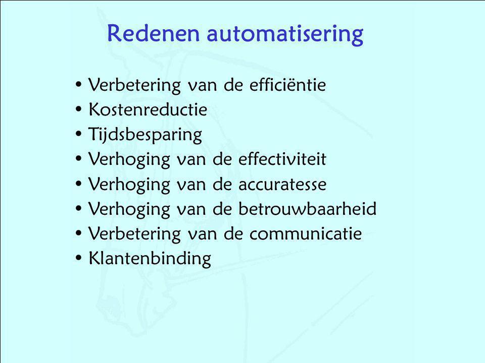 Verbetering van de efficiëntie Kostenreductie Tijdsbesparing Verhoging van de effectiviteit Verhoging van de accuratesse Verhoging van de betrouwbaarheid Verbetering van de communicatie Klantenbinding Redenen automatisering