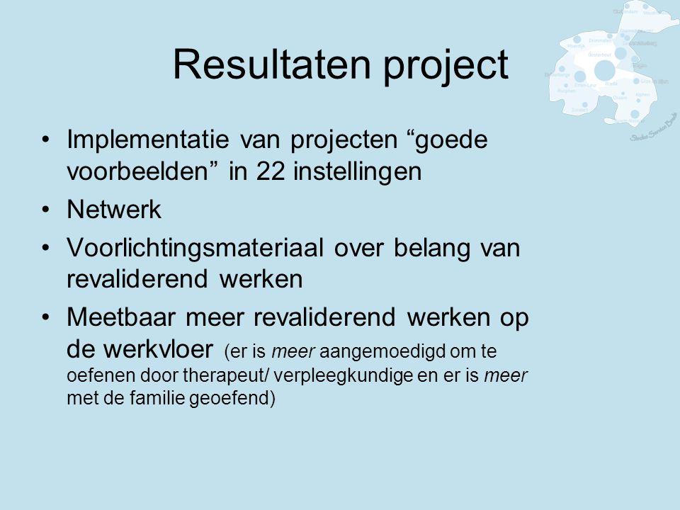 Resultaten project Implementatie van projecten goede voorbeelden in 22 instellingen Netwerk Voorlichtingsmateriaal over belang van revaliderend werken Meetbaar meer revaliderend werken op de werkvloer (er is meer aangemoedigd om te oefenen door therapeut/ verpleegkundige en er is meer met de familie geoefend)