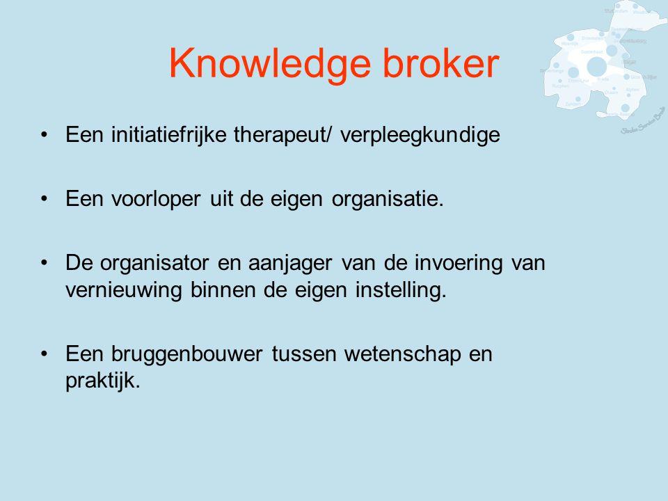 Knowledge broker Een initiatiefrijke therapeut/ verpleegkundige Een voorloper uit de eigen organisatie.
