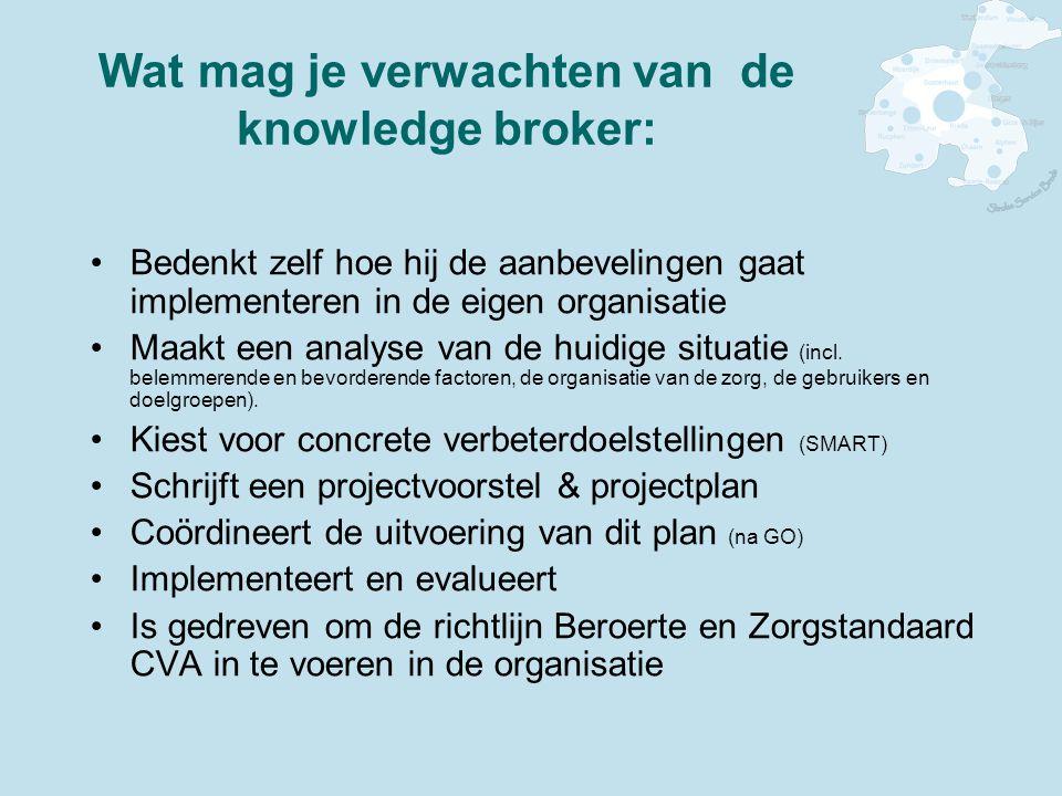 Wat mag je verwachten van de knowledge broker: Bedenkt zelf hoe hij de aanbevelingen gaat implementeren in de eigen organisatie Maakt een analyse van de huidige situatie (incl.