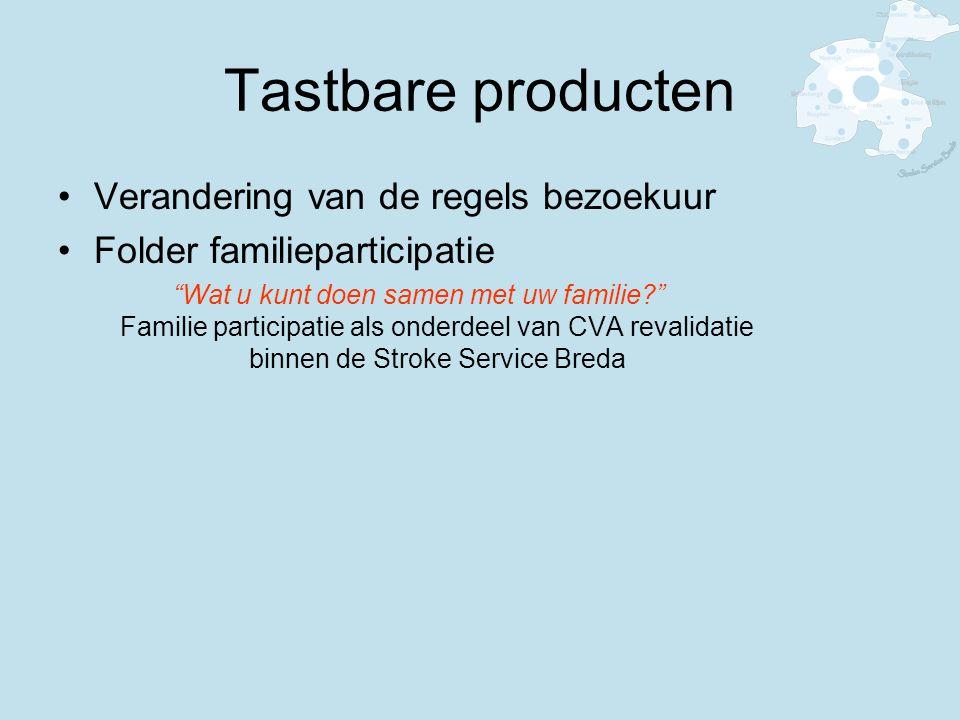 Tastbare producten Verandering van de regels bezoekuur Folder familieparticipatie Wat u kunt doen samen met uw familie? Familie participatie als onderdeel van CVA revalidatie binnen de Stroke Service Breda