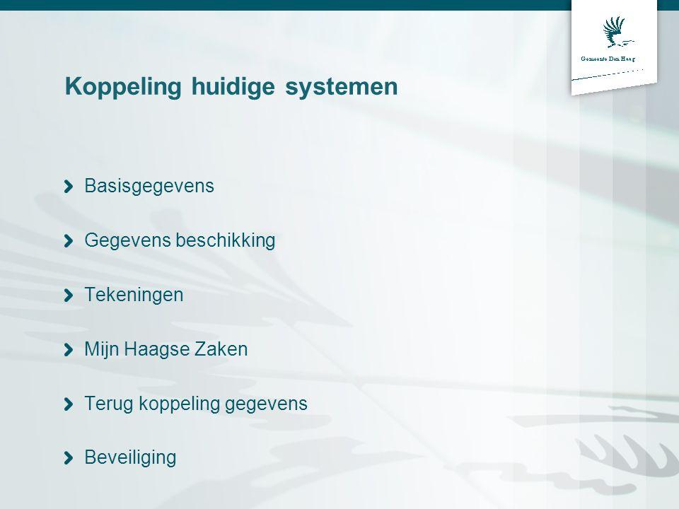 Koppeling huidige systemen Basisgegevens Gegevens beschikking Tekeningen Mijn Haagse Zaken Terug koppeling gegevens Beveiliging