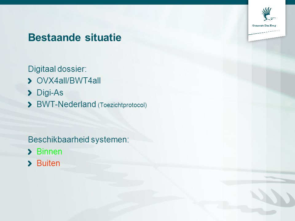 Bestaande situatie Digitaal dossier: OVX4all/BWT4all Digi-As BWT-Nederland (Toezichtprotocol) Beschikbaarheid systemen: Binnen Buiten