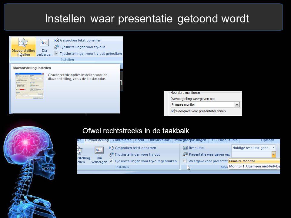 Instellen waar presentatie getoond wordt Ofwel rechtstreeks in de taakbalk