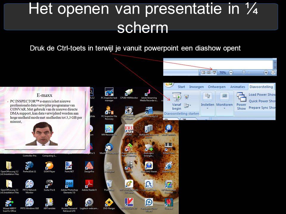 Het openen van presentatie in ¼ scherm Druk de Ctrl-toets in terwijl je vanuit powerpoint een diashow opent