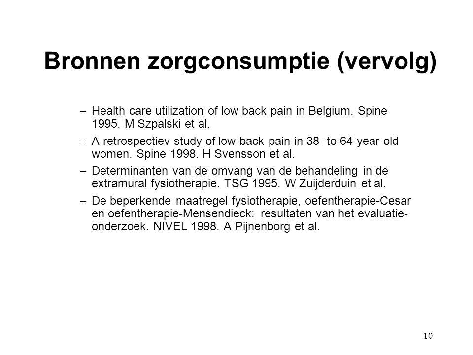 10 Bronnen zorgconsumptie (vervolg) –Health care utilization of low back pain in Belgium. Spine 1995. M Szpalski et al. –A retrospectiev study of low-