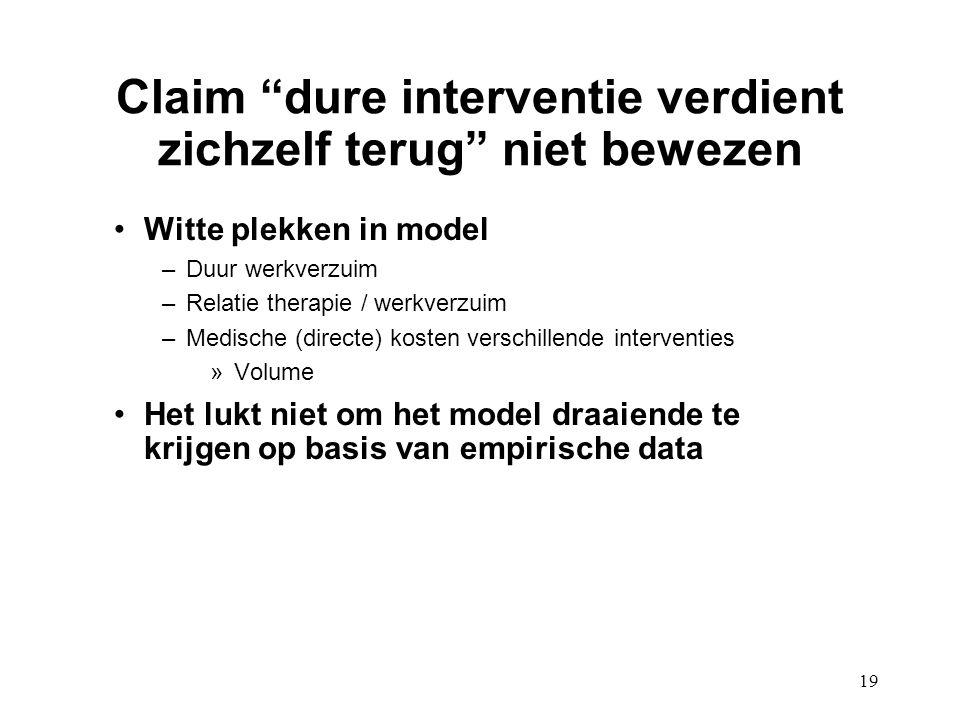 """19 Claim """"dure interventie verdient zichzelf terug"""" niet bewezen Witte plekken in model –Duur werkverzuim –Relatie therapie / werkverzuim –Medische (d"""